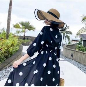 Mũ nữ thời trang đi biển vành nơ chống tia UV