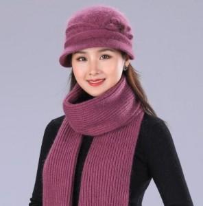 Bộ khăn mũ mùa đông Woman Knit