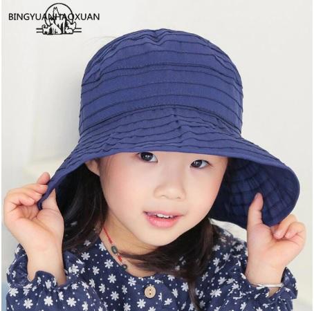 Mũ chống nắng rộng vành cho bé gái kiểu Hàn Quốc