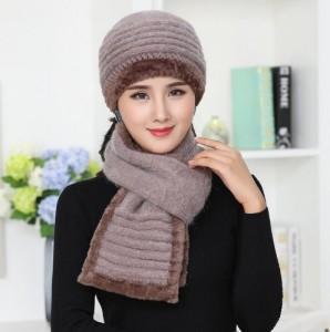 Bộ khăn, mũ mùa đông bằng len kết hợp lông thỏ, lông cừu